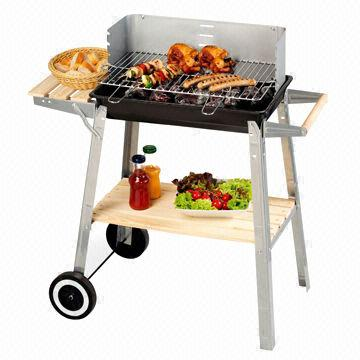 China Trolley Charcoal Grill, Powder Coating, Wooden Rack