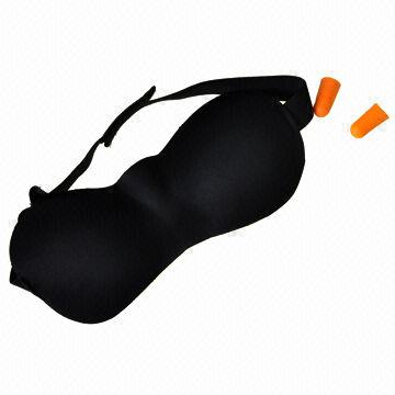 China 2 x Black Soft Sleeping Eye Mask with Ear Plug