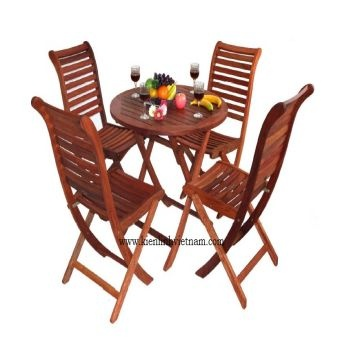 Outdoor Wood Furniture Outdoor Wooden Round Table 700 And 4 Folding Chair Cheap Price 75 Usd