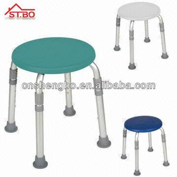 Adjustable Plastic Round Stacking Shower Bath Stool Bench