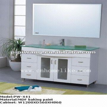 Modern mdf glass sink floor standing mirror bathroom for Floor standing mirrored bathroom cabinet