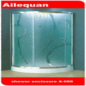A 086 Frosted Glass Round Corner Shower Enclosure