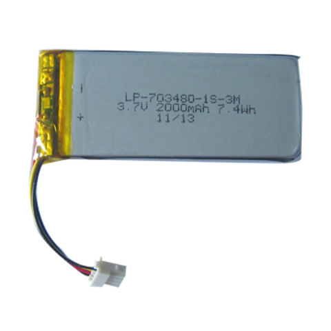 China Li-pol Battery Pack, 3.7V, 2000mAh, 703480 Cell, with PCM and 10K NTC, Lead-out Wires and Connector