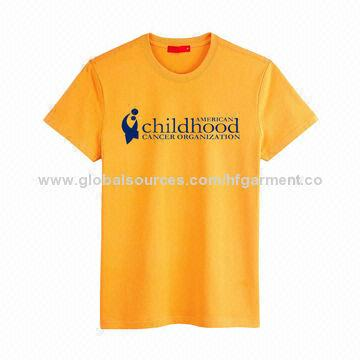 China Promotional T-shirts, Made of Gold Cotton Jersey, Custom Logo/Silkscreen Printed/Various Sizes/Color