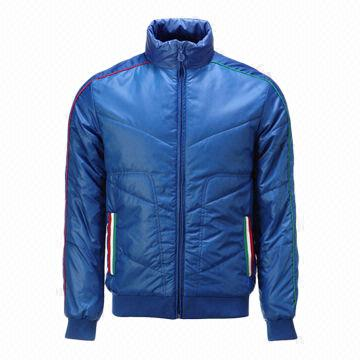 China Men's casual jackets, made of padded waterproof nylon