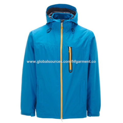 China Men's Ski Jackets, Hooded in Plain Blue, Newest Design, Water/Wind-proof, Breathable, Print Logo