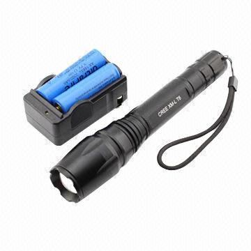 Hong Kong SAR 1600 Lumen 5-mode Cree XM-L T6 LED Flashlight with Battery and Charger, Includes 2 x 18650 Batteries