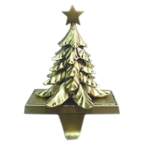 antique gold metal christmas tree stocking holder on