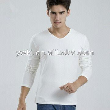 Pure Cotton Fitted Long Sleeve V-neck T-shirt / Tight Fit Long ...