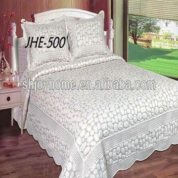 Embroidered White Cotton Quilt | Global Sources