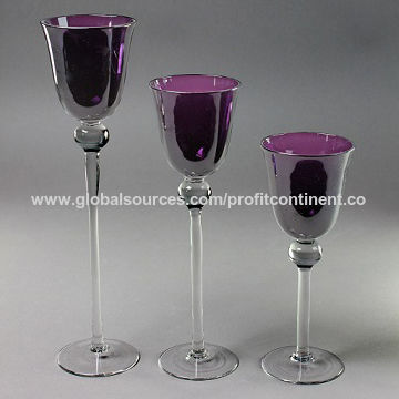 China Sprayed Purple Gl Tealight Candle Holders Three Sizes Handmade Glware