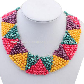 China Stylish Collar with Colorful Beads Decoration, Available in Many Colors and Styles