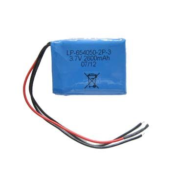 China Lithium polymer battery pack, 3.7V 2600mAh with protect circuit lead out 2 wires for P+ & P-