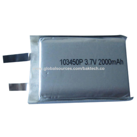 China Lithium-ion Polymer Rechargeable Cell, Rectangle Type, 3.7V, 2,000mAh