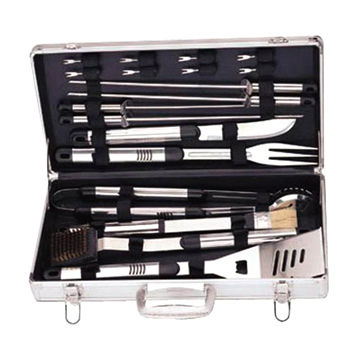 China BBQ tools, 18pcs, stainless steel handle, with AL box