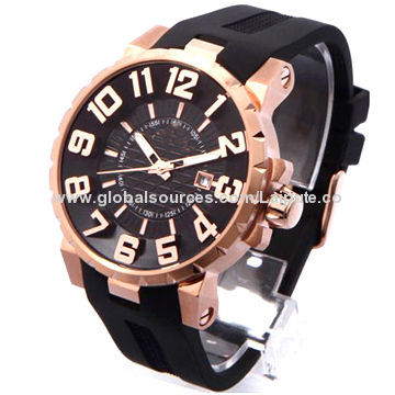 China Extra Large Face Watch For Men With Silicone Strap And Stainless Steel Case