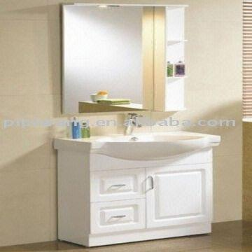Modern white mdf floor standing illuminated mirror for Floor standing mirrored bathroom cabinet