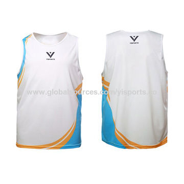 Sports Singlets, Made of 100% Polyester Coolmax Fabric Material with Digital Sublimation Printing