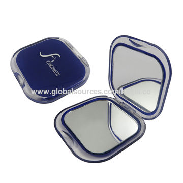 China Pocket mirrors in square shape with double sides, made by ABS materials pocket size 7.12x7.07x1.1cm