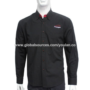 China Men's long sleeve shirts for Pizza Hut workers, made of 35% cotton and 65% polyester