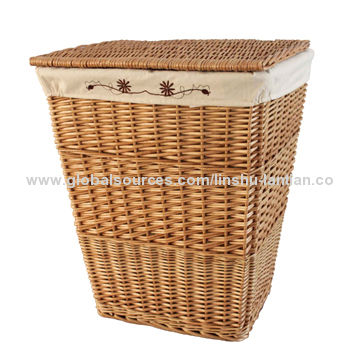 Wicker Laundry Basket With A Lid Liner Square Shaped Natural Various Sizes And Styles Eco