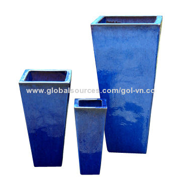 Outdoor Glazed Planter Set 3 Tall Tapered Square Planters