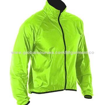 China Green color windbreaker jackets, 100% nylon outshell, breathable, elastic cord cuffs, customized