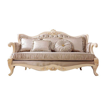 European Classic Luxury Top Layer Leather Wooden Sofa