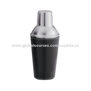 Mini metal cocktail shaker with leather coating