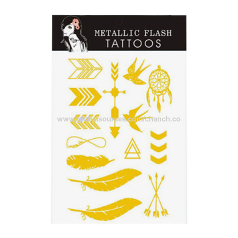 China Metallic Flash Golden Tattoo Stickers, Lead- and Nickel-free, OEM Designs are Welcome