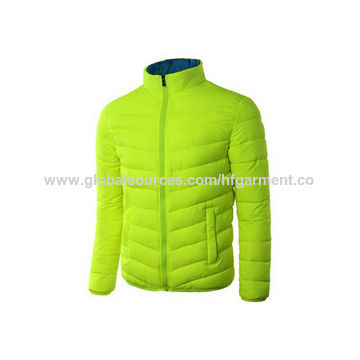 China Men's Winter Jacket, Padded Cotton, Lightweight in Lime Various Colors, Standing Collar/Custom Label