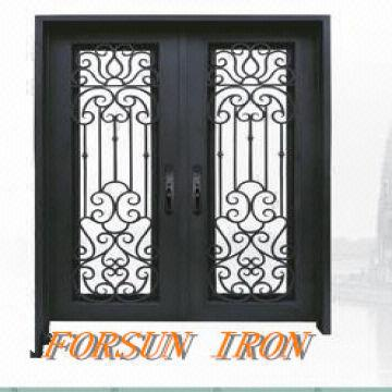 Wrought iron door iron door window grill design villa for Window grill design catalogue 2016
