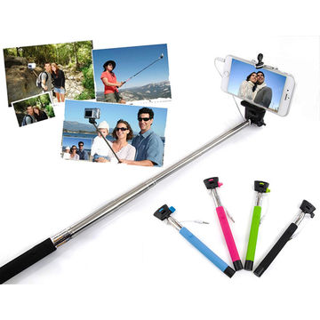 Wire Control Extendable Selfie Handheld Monopod Stick Holder for iPhone Samsung