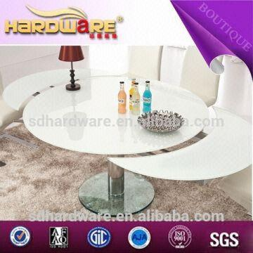 China Suppliers Round Stainless Steel Legs Dining Table Extendable Glass Round Table Global Sources