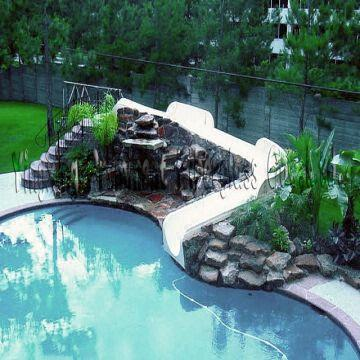 Backyard garden pool cheap fiberglass slide global sources for Garden pool with slide