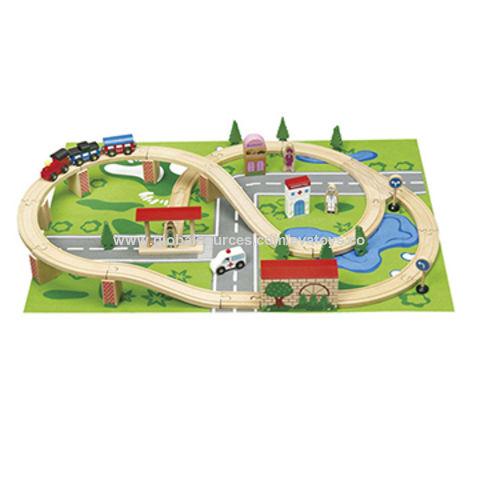 Wooden Railway Train Set Toy