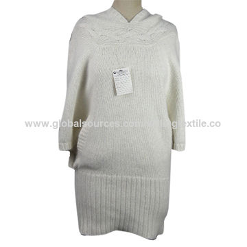 Ladies' knitted sweater with butterfly sleeveless angora blend hood