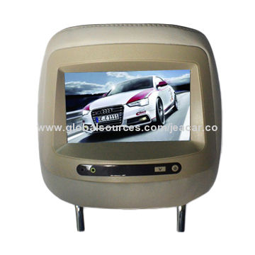 """China 7"""" LCD Monitor Car Headrest, Sold as 1 Pair (Black), or Car/Truck/SUV-Pair of Headrests"""