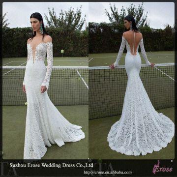 Lj1210 elegant lace long sleeve sexy low back wedding for Low back bras wedding dress