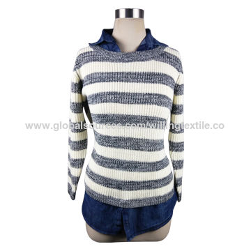 China Ladies' fashion style knitted pullover, made of 85% acrylic and 15% wool