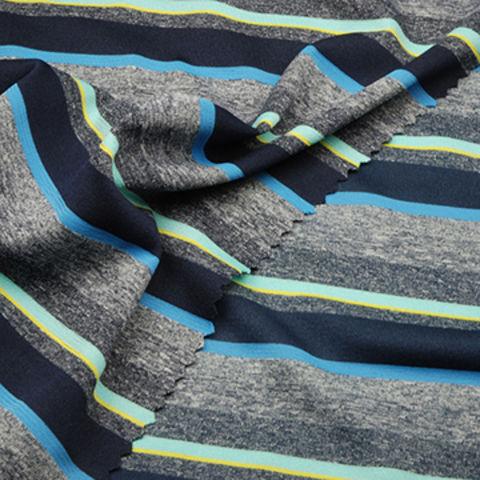 Taiwan Heather Stripe Jersey Fabric, Made of 100% Poly Yarn Dye