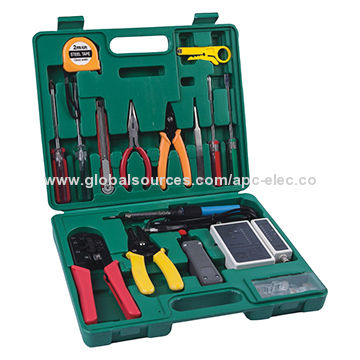 Network tools kits with pliers, wire stripper cable tester