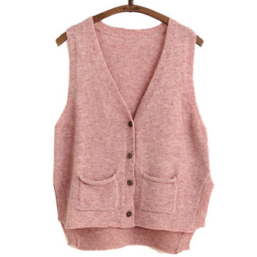 Hong Kong SAR Women's knitted sweater vest, made of acrylic, high quality, customized and stock welcomed