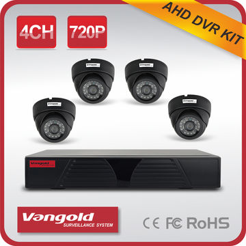 China 1 Megapixel 4CH AHD DVR Kit, 4pcs 720P Dome AHD Cameras, 720P AHD DVR, support P2P QR Code