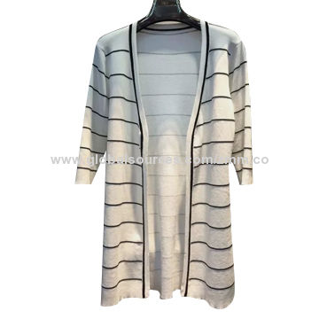 Women's knitted cardigan, classic long loose striped model, basic and fashion