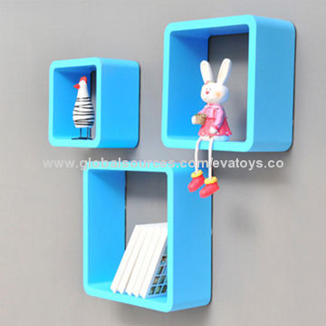China 2017 Blue Wooden Hanging Decorative Wall Shelf