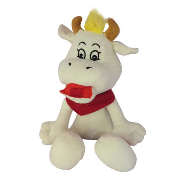 cute soft plush white and red animal cow toys, made of soft plush and pp padding, for promotion