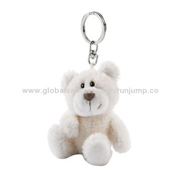 white small baby plush teddy bear keychain, made of soft plush and pp padding, for promomotions