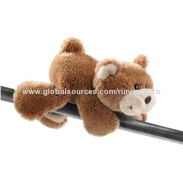 new design soft plush dark brown lying baby bear, made of soft plush and pp padding