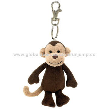 China hotselling dark brown plush animal monkey keychain key ring, made of soft plush and pp paddng